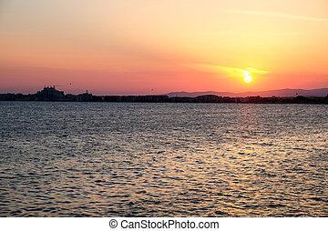 όμορφος , pomorie, ηλιοβασίλεμα , βουλγαρία
