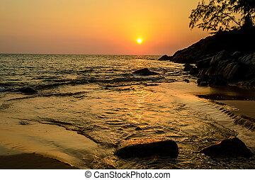 όμορφος , sea), nai, thon , ηλιοβασίλεμα , (andaman, σιάμ , παραλία