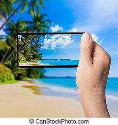 όμορφος , smartphone, φωτογραφία , ελκυστικός , τροπικός , θάλασσα , παραλία