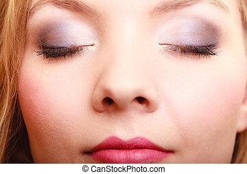 όμορφος , visage., μάτια , closeup , γυναίκα , διαρρύθμιση