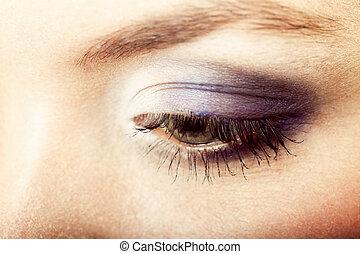 όμορφος , visage., μάτι , closeup , γυναίκα , διαρρύθμιση