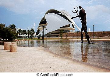 όπερα , - , πάρκο , santiago , αριστοτεχνία , όμορφος , 2009, σπίτι , γνώσεις , ιούλιοs , θέα , ισπανία , 14:, spain., αόρ. του build , φημισμένος , πόλη , calatrava, άγαλμα , 15 , p , valencia , ποσειδών