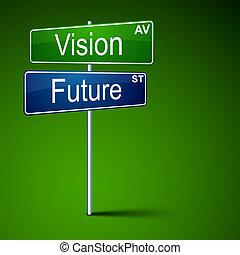 όραση , μέλλον , κατεύθυνση , δρόμοs , αναχωρώ.