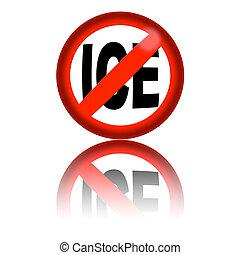 όχι , πάγοs , σήμα , 3d , απόδοση