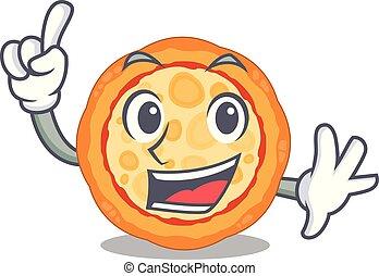 ό pizza , χαρακτήρας , δάκτυλο , πιάτο