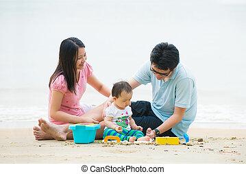 ώρα , παραλία , πατέραs , οικογένεια , ευφυολόγημα , ασιάτης , απολαμβάνω , ποιότητα