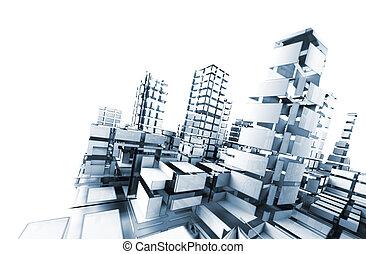 абстрактные, архитектура, .technology, and, архитектура, концепция