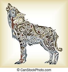 абстрактные, волк