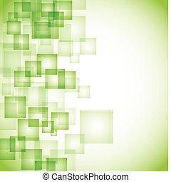 абстрактные, квадрат, зеленый, задний план
