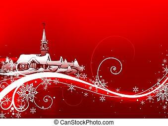 абстрактные, красный, рождество