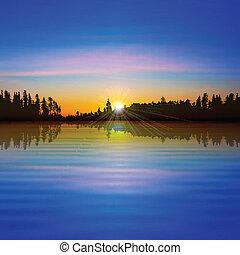 абстрактные, лес, задний план, озеро