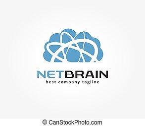 абстрактные, облако, место хранения, вектор, логотип, значок, concept., логотип, шаблон, для, branding, and, дизайн
