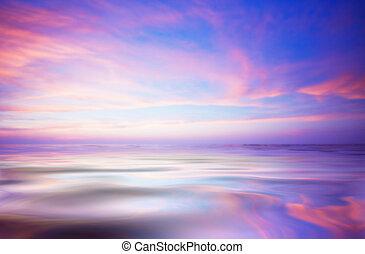 абстрактные, океан, and, закат солнца