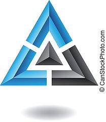 абстрактные, пирамида, треугольник, значок