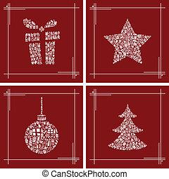абстрактные, рождество, символ, задавать