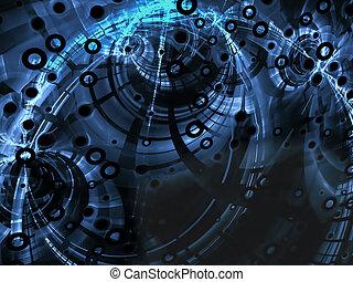 абстрактные, синий, технологии, стиль, образ, на, черный, задний план