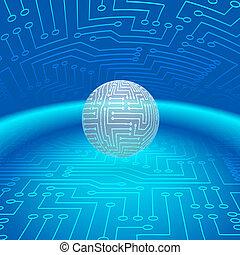 абстрактные, сфера, of, электронный, схема
