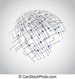 абстрактные, технологии, земной шар