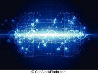 абстрактные, электрический, схема, цифровой, головной мозг, концепция