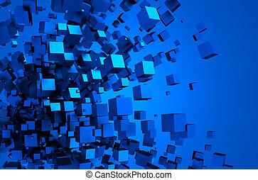 абстрактные, 3d, оказание, of, летающий, cubes.