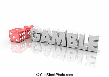 авантюра, казино, игральная кость, азартные игры, взять, шанс, слово, 3d, иллюстрация