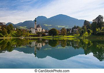 австрия, отражение, reith, озеро