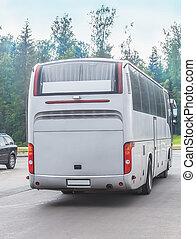 автобус, пересечение, город