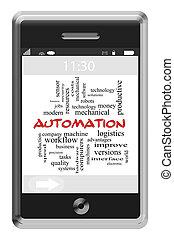 автоматизация, слово, облако, концепция, на, сенсорный экран, телефон