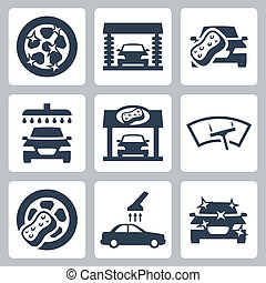 автомобиль, вектор, задавать, мыть, icons