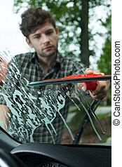 автомобиль, ветровое стекло, уборка