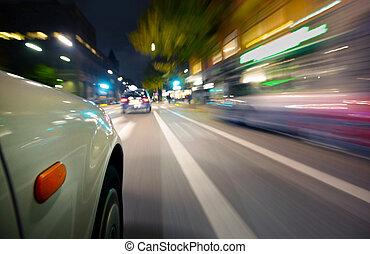 автомобиль, в, движение, пятно