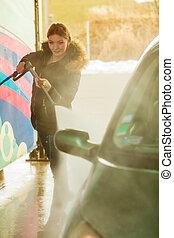 автомобиль, женщина, мойка, открытый, воздух