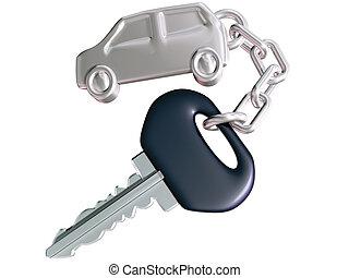 автомобиль, ключ, and, автомобиль, надувать