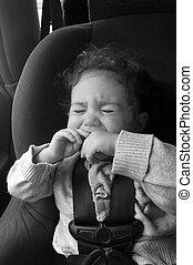 автомобиль, плакать, сиденье, ребенок
