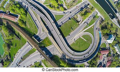 автострада, пересечение, антенна, посмотреть