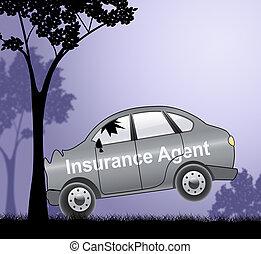 авто, показ, иллюстрация, агент, автомобиль, политика, страхование, 3d