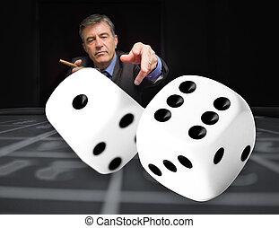 азартный игрок, в, , покер, таблица, with, цифровой, игральная кость, в, передний план