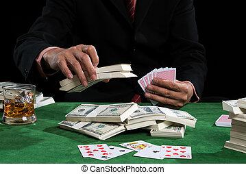 азартный игрок, является, сдачи, bets, into, , piles, of, денежная купюра