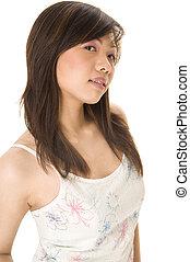 азиатский, в, белый