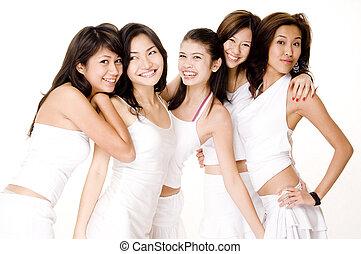 азиатский, женщины, в, белый, #7