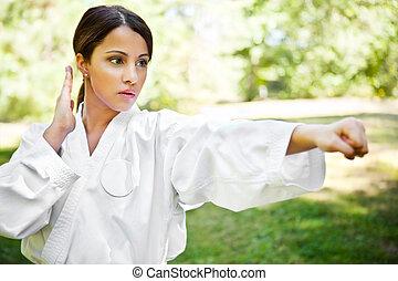 азиатский, practicing, каратэ