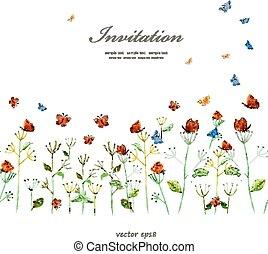 акварель, милый, граница, цветочный, butterflies.