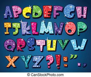 алфавит, сверкающий