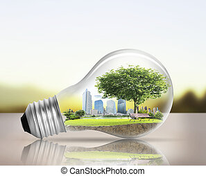 альтернатива, колба, легкий, концепция, энергия