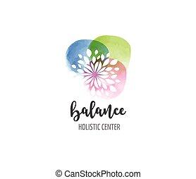 альтернатива, лекарственное средство, and, оздоровительный, йога, дзэн, медитация, концепция, -, вектор, акварель, значок, логотип