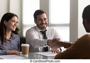американская, новый, счастливый, менеджер, наемный рабочий, welcoming, час, job., африканец