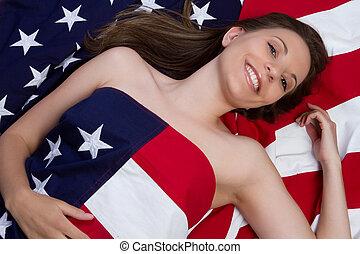 американская, флаг, женщина