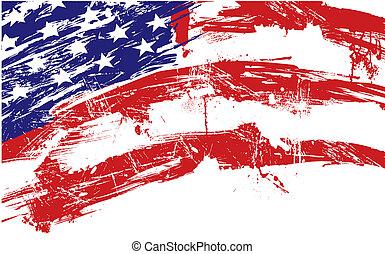 американская, флаг, задний план