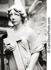 ангел, держа, , пересекать