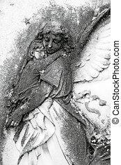 ангел, держа, , ребенок